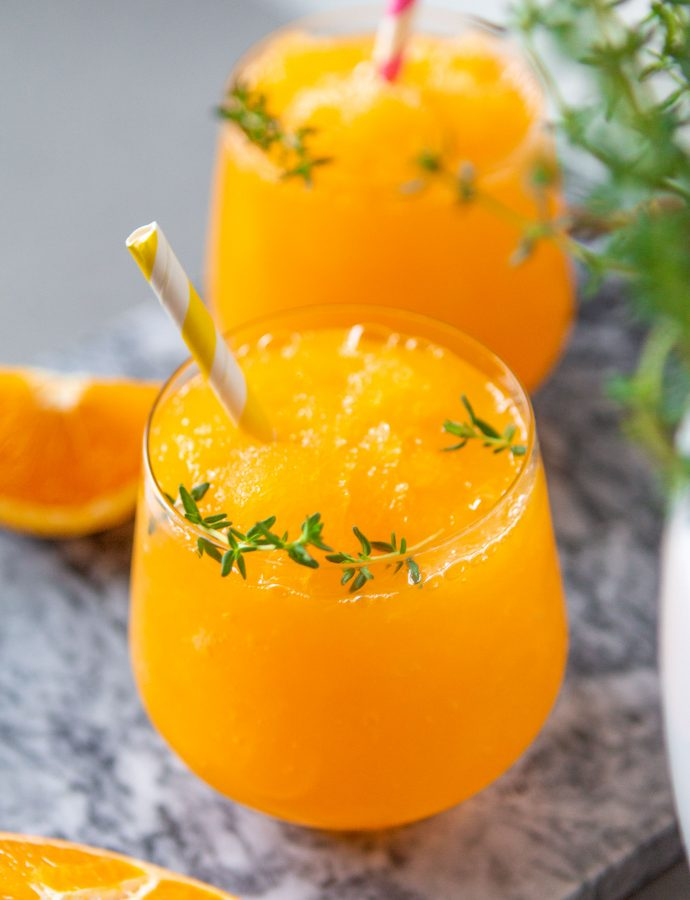 Cocktail: sinaasappel, tijm en gin granita