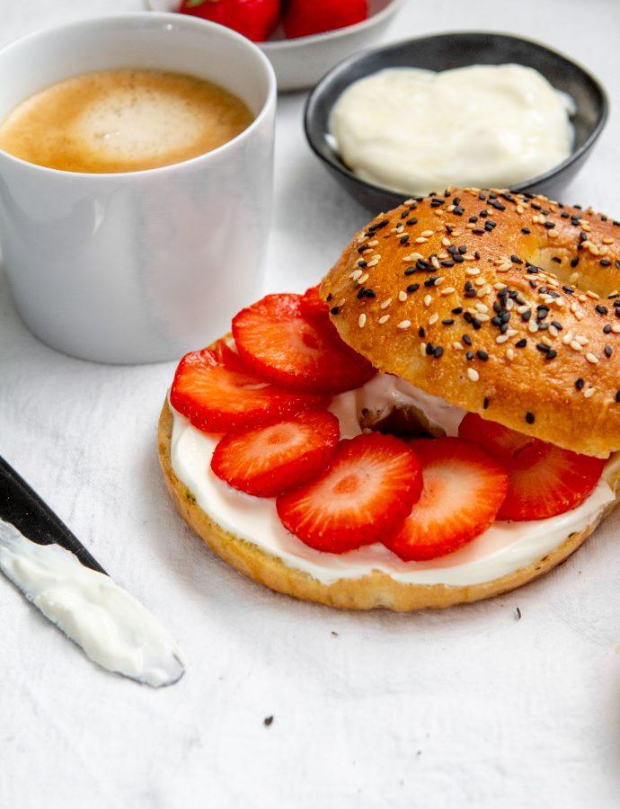 Basisrecept bagels & recept bagels met aardbeien