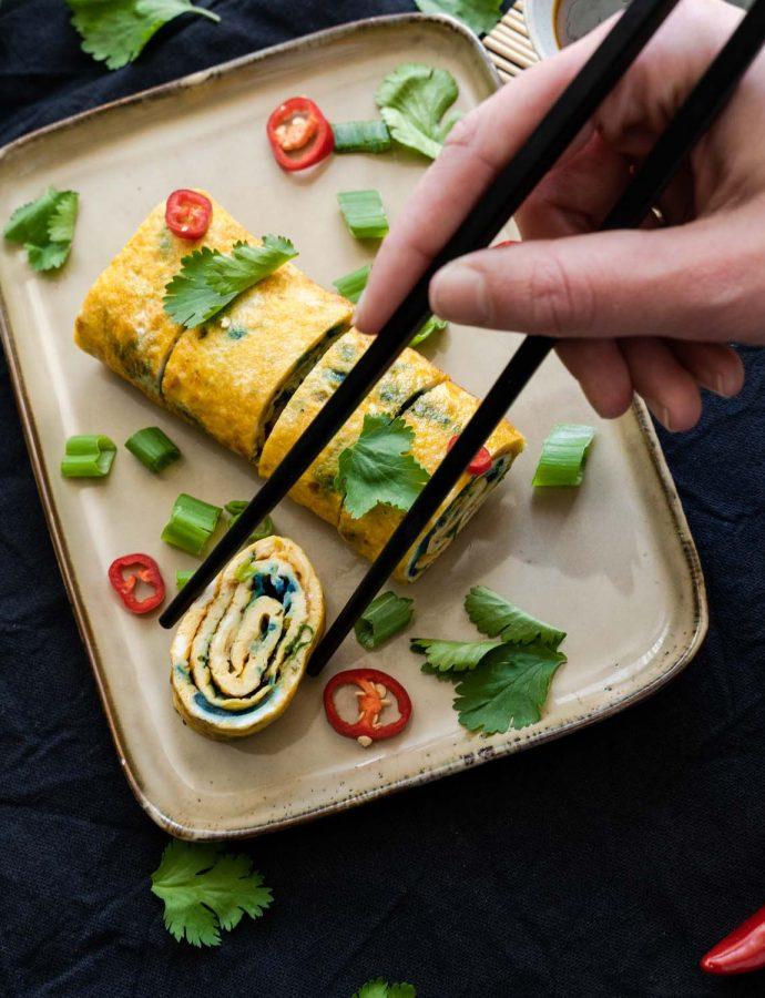 Zo maak je een Koreaanse omeletrol (stap-voor-stap foto's)