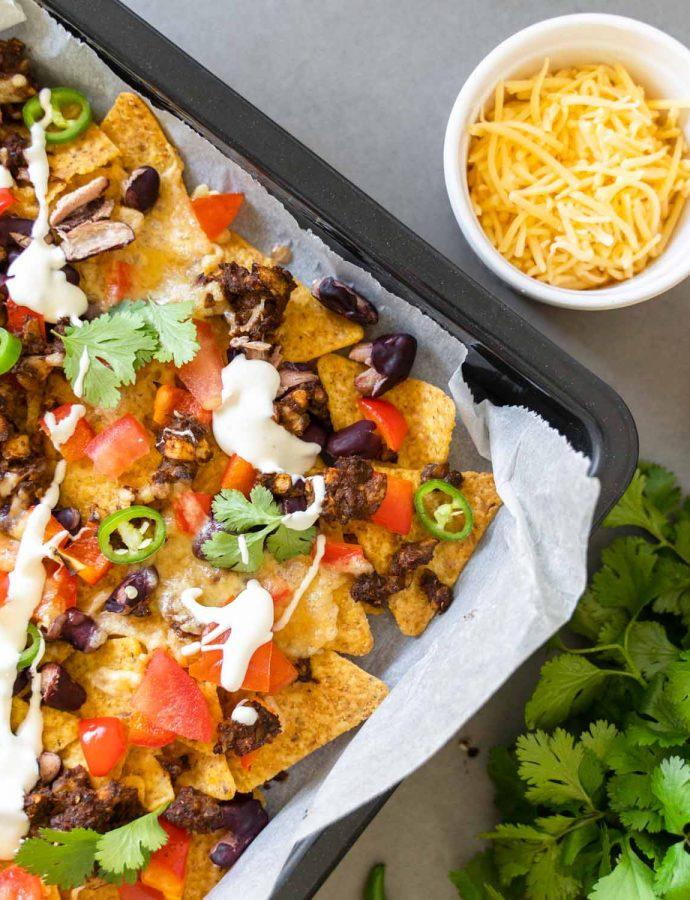 Vega nacho schotel met champignongehakt