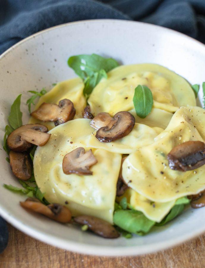 Makkelijke ravioli met champignons