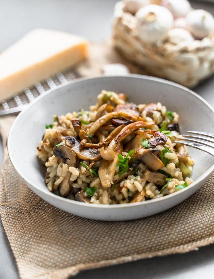 Champignon risotto met gebakken paddenstoelen