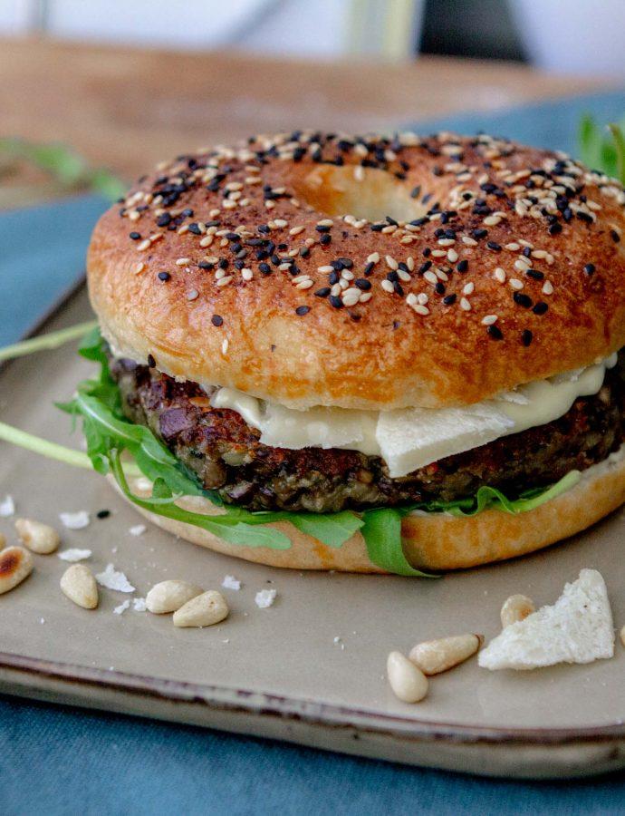 Paddoburger op bagels